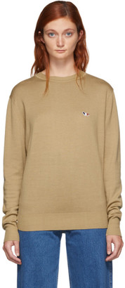 MAISON KITSUNÉ Beige Virgin Wool R-Neck Pullover Sweater