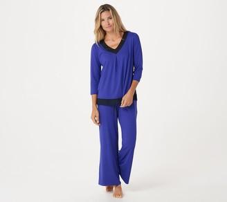 Carole Hochman Feather Jersey Pajama Set with Chiffon Trim
