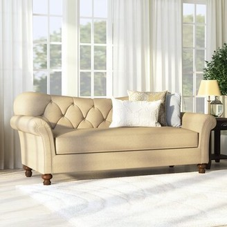 "Darby Home Co Kyla Chesterfield 88"" Rolled Arm Sofa Upholstery Color: Siam Parchment"