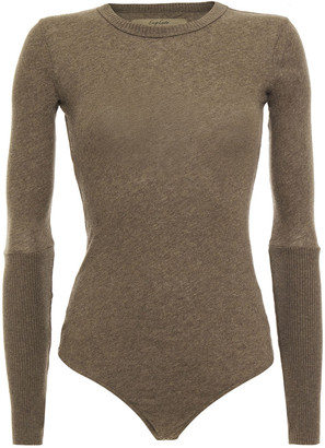 Enza Costa Cotton And Cashmere-blend Bodysuit