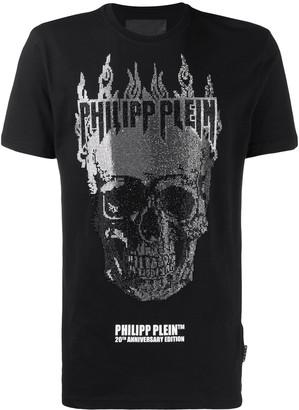 Philipp Plein Flame embellished skull T-shirt