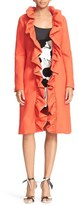 Milly Women's Ruffle Collar Twill Wrap Coat