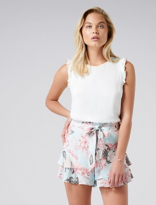 Forever New Dina Double Ruffle Hem Shorts - Blue Floral Print - 4