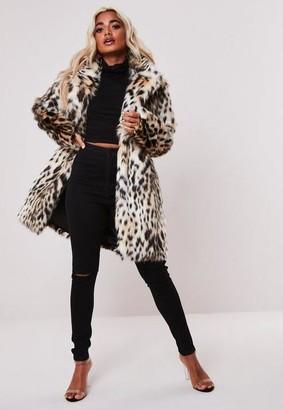 Missguided Nude Leopard Print Faux Fur Coat