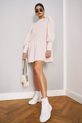 boohoo Big Sleeve Peplum Cotton Shirt Dress