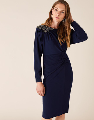 Monsoon Danielle Beaded Shoulder Jersey Dress Blue