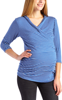 Glam Blue & White Stripe Ruched Maternity/Nursing Top