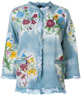 Avant Toi embroidered raw edge denim jacket