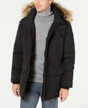 Calvin Klein Men's Long Snorkel Coat with Faux-Fur Trimmed Hood
