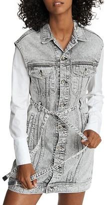 Rag & Bone Belted Sleeveless Denim Trucker Dress