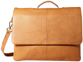 Visconti Sand Flap-Front Leather Briefcase