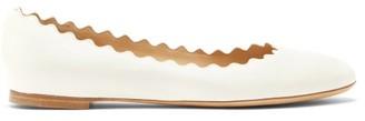 Chloé Lauren Scallop-edge Leather Ballerina Flats - White