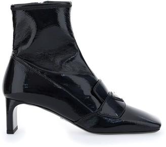 Prada Logo Squared-Toe Ankle Boots