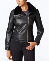 Cole Haan Faux-Fur-Collar Moto Jacket