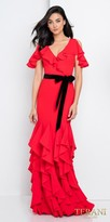 Terani Couture Cold Shoulder Ruffled Flounce Evening Dress