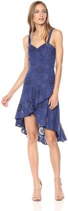 Parker Women's Donna Sleeveless high Low Eyelet midi Dress