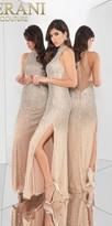 Terani Couture Dazzling Fully Embellished Illusion Back Evening Dress