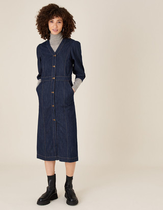 Monsoon Denim Midi Dress in Organic Cotton Blue