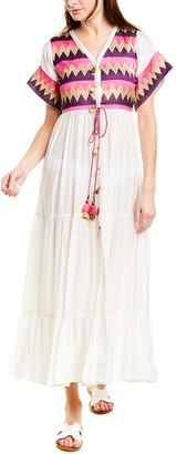 Taj By Sabrina Crippa Tiered Silk Maxi Dress