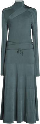 Peter Do Belt-Detailed Ribbed-Knit Midi Dress