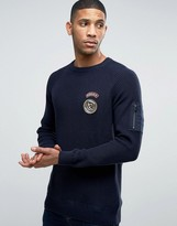 Jack and Jones Ribber Sweater With Military Patches