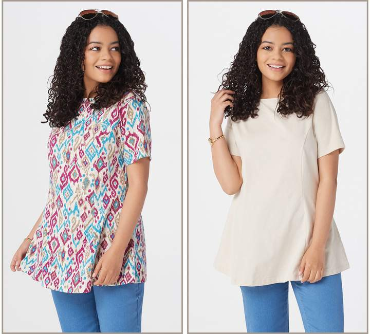 Denim & Co. Petite Set of Two Fit & Flare Knit Tunics