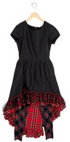 Junior Gaultier Girls' Plaid-Paneled High-Low Dress w/ Tags