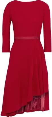Lanvin Asymmetric Grosgrain-trimmed Wool-crepe Dress