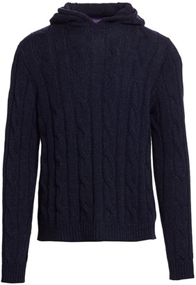 Ralph Lauren Purple Label Long-Sleeve Cable-Knit Cashmere Hoodie