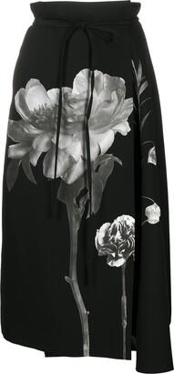 Valentino Floral Print Midi Skirt