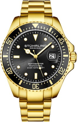 Stuhrling Original Men's Aquadiver Black Dial Goldtone Dive Watch