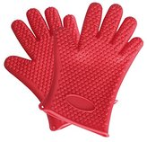 2pcs Heat Resistant Oven Mitts Microwave Toaster Barbecue Gloves Hands Wrists Protection from Baking BBQ Grilling Cooking Smoking Frying Washing 1 Pair (2 pcs) (Red)