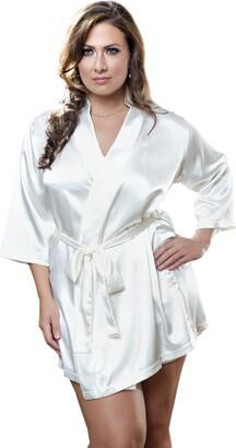 iCollection Women's Plus-Size Satin 3/4 Sleeve Robe