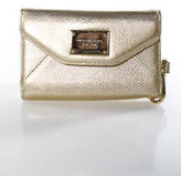 Michael Kors Gold Metallic Leather Snap Button Front Wristlet Wallet