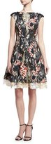 Talbot Runhof Tie-Dye Jacquard Fit-&-Flare Dress, Black