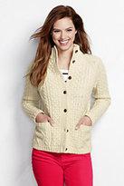 Classic Women's Petite Lambswool Aran Cardigan Sweater-Ivory