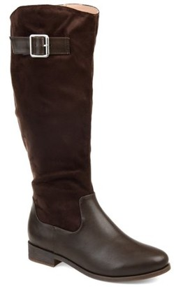Brinley Co. Womens Comfort Wide Calf Two-tone Riding Boot