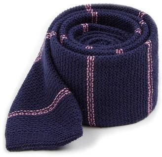 Tie Bar Knitted Hem Stripe Navy Tie