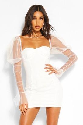 boohoo Mesh Cup Detail Puff Sleeve Mini Dress