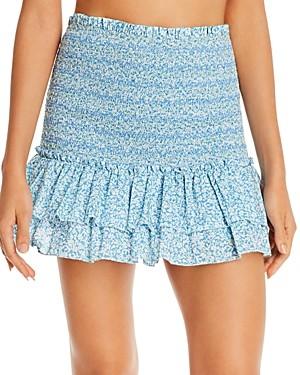 Jonathan Simkhai Sydney Smocked Mini Skirt Swim Cover-Up