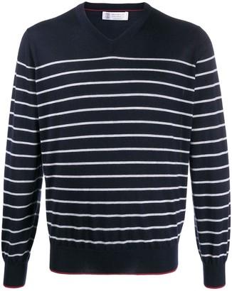 Brunello Cucinelli striped V-neck pullover