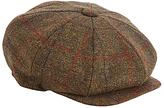Christys' Eight Piece Tweed Baker Boy Cap, Brown