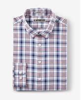 Express fitted plaid performance dress shirt