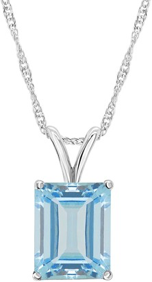 14K Gold 3.80 cttw Sky Blue Topaz Pendant withChain