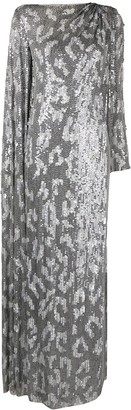 Jenny Packham Draped Sequin-Embellished Gown