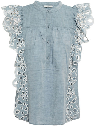 Joie Coralia Ruffled Broderie Anglaise Cotton-chambray Top