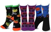 TeeHee Kids TeeHee Halloween Cotton 3-Pack Crew Socks - Hunted House Witch Confetti, 6-8 Years