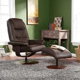 Brown Bonded/Reconstituted Leather Recliner and Ottoman