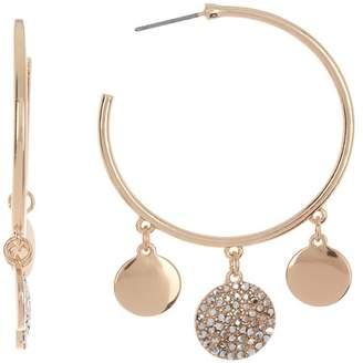 Cara Accessories Crystal Disc Hoop Earrings