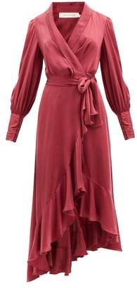 Zimmermann Bishop-sleeve Silk-satin Wrap Dress - Burgundy